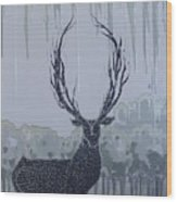 Silver Deer Wood Print