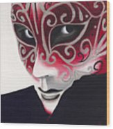 Silver Flair Mask Wood Print