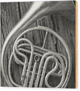 Silver French Horn Wood Print