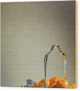 Silver Fruit Basket Wood Print