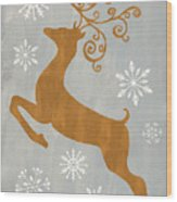 Silver Gold Reindeer Wood Print