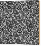 Silver Gray Paisley Design Wood Print