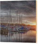 Silver Harbor Skies Wood Print