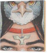Silver Hawk Warrior Wood Print