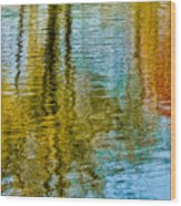 Silver Lake Autum Tree Reflections Wood Print