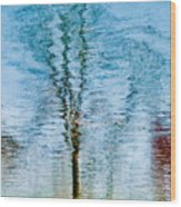 Silver Lake Tree Reflection Wood Print