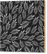 Silver Leaf Pattern 2 Wood Print