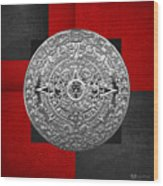 Silver Mayan-aztec Calendar On Black And Red Leather Wood Print