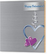 Silver Metal Frame Heart With Two Little Purple Hearts Wood Print