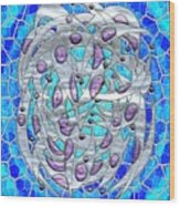 Silver On Blue Stained Glass Wood Print
