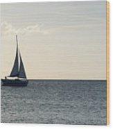 Silver Sailboat Wood Print