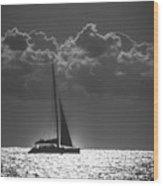 Silver Sea Sailboat Delray Beach Florida Wood Print