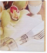 Silver Service Breakfast Setting Wood Print