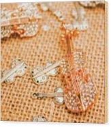 Silver Violin Pendant With Diamonds Wood Print