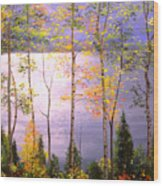 Silvery Blue Wood Print