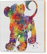 Simba The Lion King Watercolor Art  Wood Print