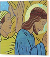 Simon Helps Jesus Wood Print