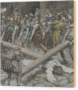 Simon The Cyrenian Compelled To Carry The Cross With Jesus Wood Print