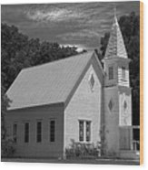 Simple Country Church - Bw Wood Print