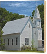 Simple Country Church Wood Print
