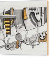 Simple Machines Drawing Three Wood Print