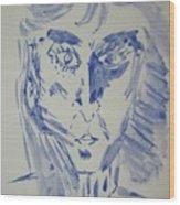 Simple Portrait In Blue.water Color 1999 Wood Print