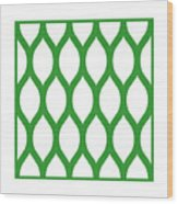 Simplified Latticework With Border In Dublin Green Wood Print