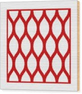 Simplified Latticework With Border In Red Wood Print