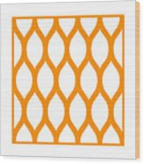 Simplified Latticework With Border In Tangerine Wood Print