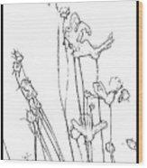 Simplistic Flower Sketch Wood Print