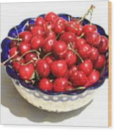 Simply A Bowl Of Cherries Wood Print