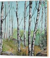 Simply Birches Wood Print