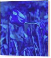 Simply Blue Pink Tulip Wood Print