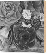 Simply Flowers 1 Black And White Wood Print