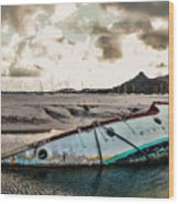 Simpson's Bay Shipwreck Wood Print