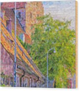 Simrishamn Street Scene Digital Painting Wood Print