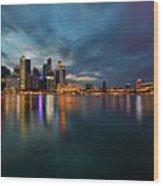 Singapore City Skyline At Evening Twilight Wood Print