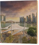 Singapore City Skyline By Marina Bay Sunset Wood Print