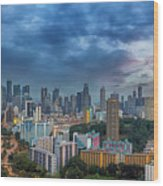 Singapore Cityscape At Sunset Wood Print