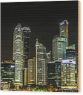 Singapore Evening Cascade Wood Print