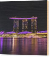 Singapore In Purple 1 Wood Print