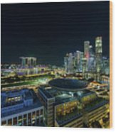 Singapore Modern Skyline By The River At Night Wood Print