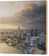Singapore Storm Brewing Wood Print