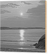 Singing Beach Rocky Sunrise Manchester By The Sea Ma Sand Black And White Wood Print