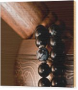 Singing Bowl And Mala In Color Wood Print