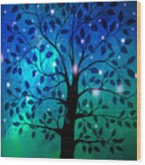 Singing In The Aurora Tree Wood Print