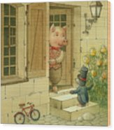 Singing Piglet Wood Print
