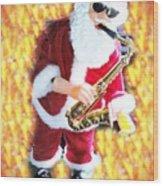 Singing Santa Wood Print