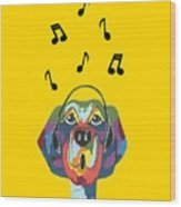 Singing The Blues - Dog Humor Wood Print