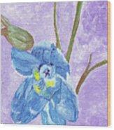 Single Delphinium Flower Wood Print